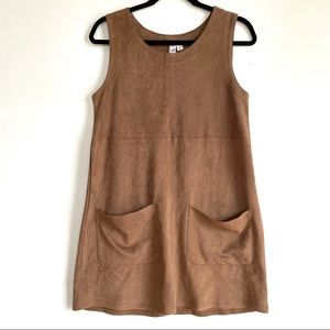 70s Style Brown Suede Dress w/ Large Pockets Soft